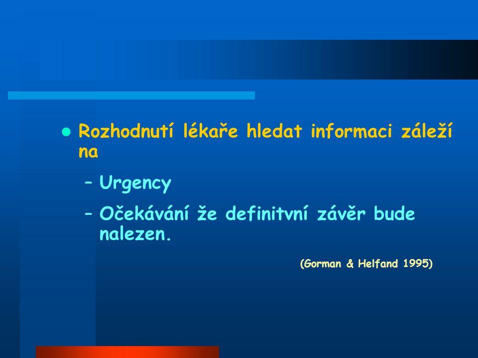 Rozhodnutí lékaře hledat informaci záleží na –Urgency –Očekávání že definitvní závěr bude nalezen.