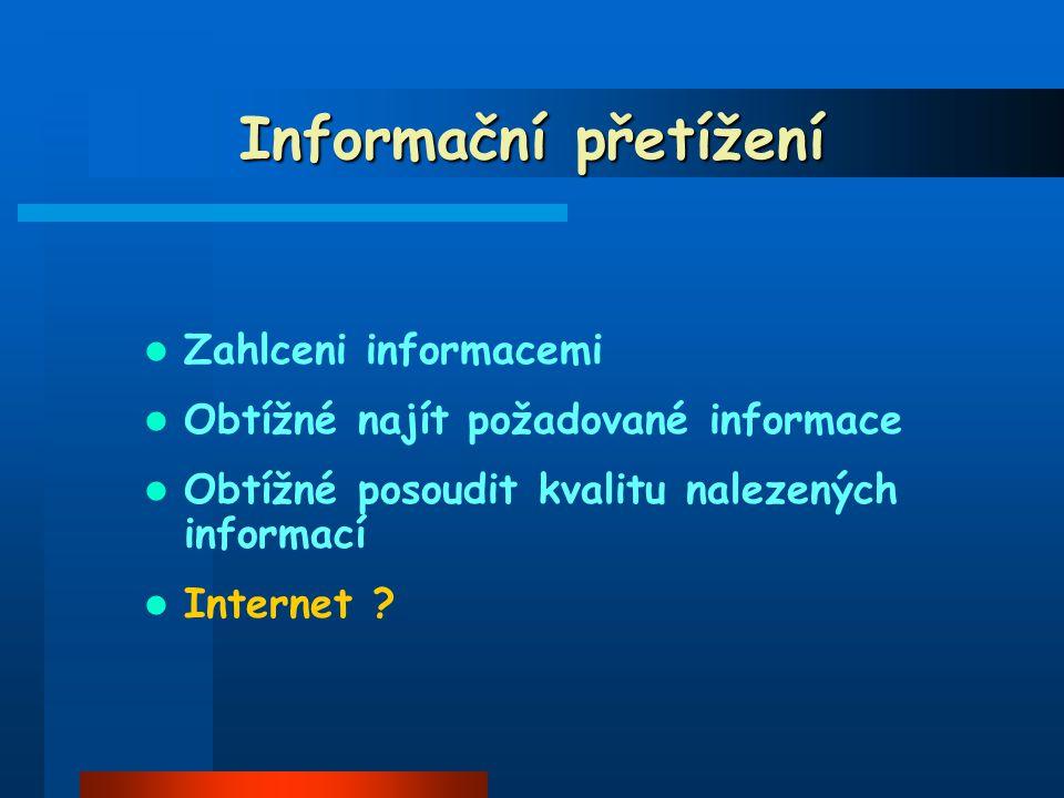 Informační přetížení Zahlceni informacemi Obtížné najít požadované informace Obtížné posoudit kvalitu nalezených informací Internet