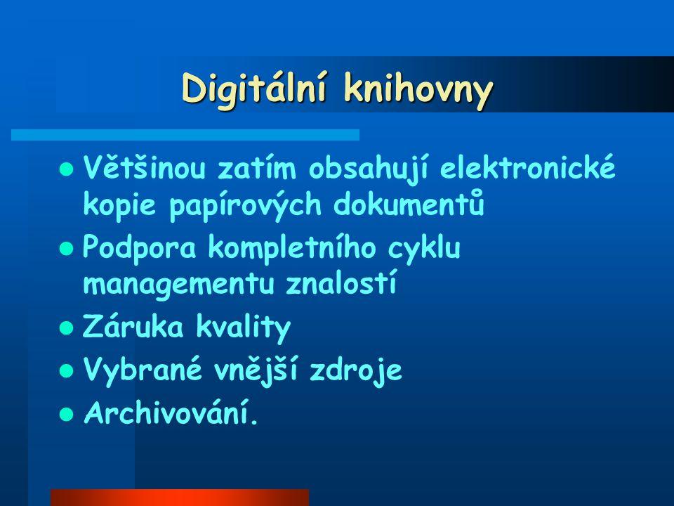 Digitální knihovny Většinou zatím obsahují elektronické kopie papírových dokumentů Podpora kompletního cyklu managementu znalostí Záruka kvality Vybrané vnější zdroje Archivování.
