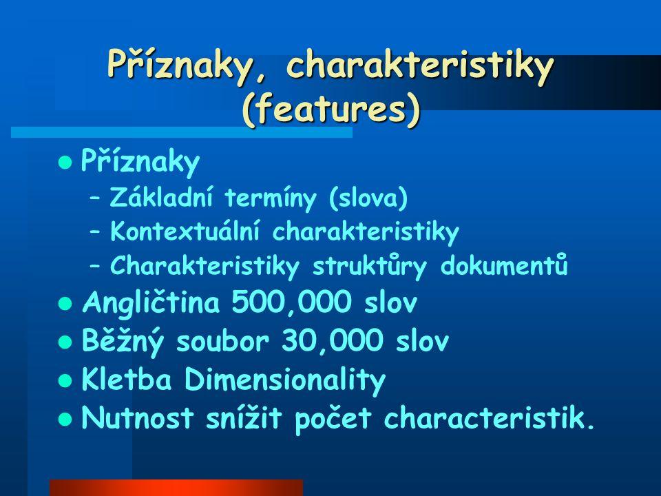 Příznaky, charakteristiky (features) Příznaky –Základní termíny (slova) –Kontextuální charakteristiky –Charakteristiky struktůry dokumentů Angličtina