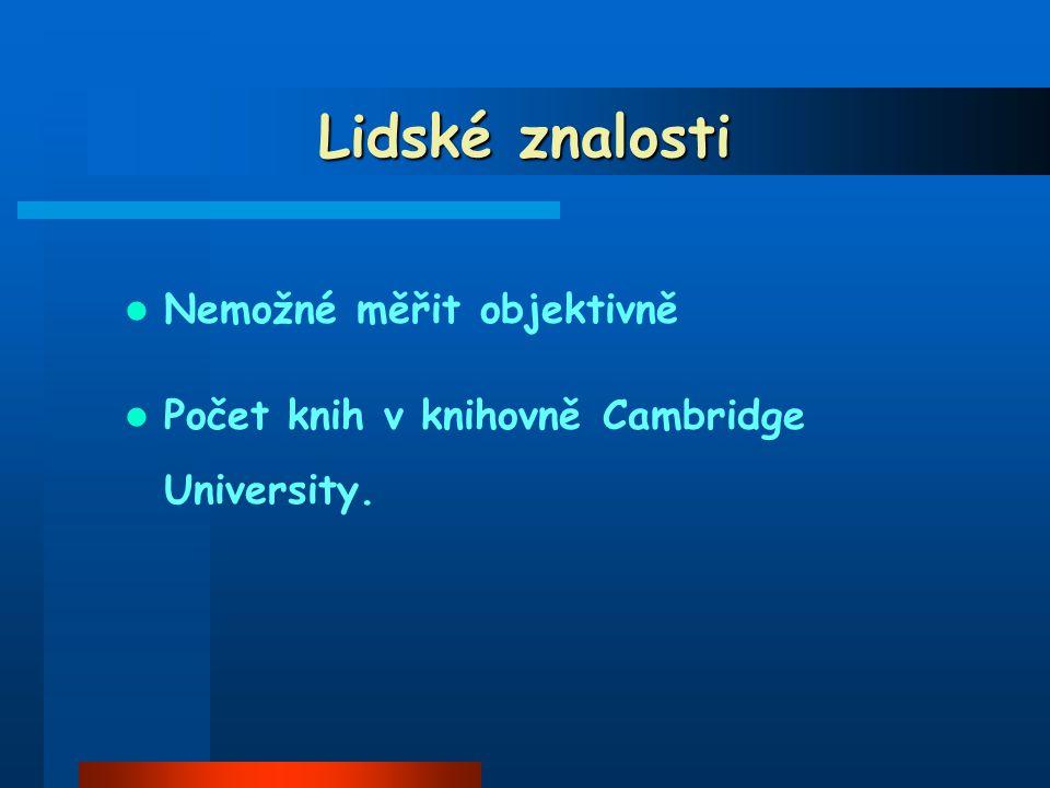 Lidské znalosti Nemožné měřit objektivně Počet knih v knihovně Cambridge University.