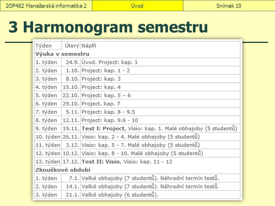 3 Harmonogram semestru ÚvodSnímek 102OP482 Manažerská informatika 2