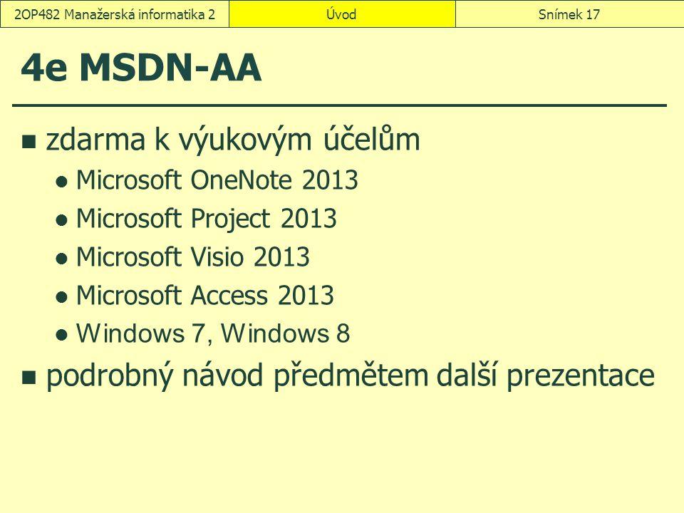 ÚvodSnímek 172OP482 Manažerská informatika 2 4e MSDN-AA zdarma k výukovým účelům Microsoft OneNote 2013 Microsoft Project 2013 Microsoft Visio 2013 Mi