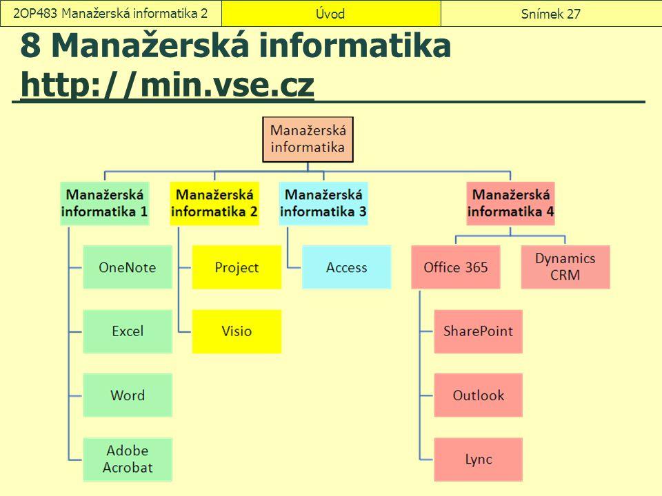 ÚvodSnímek 272OP483 Manažerská informatika 2 8 Manažerská informatika http://min.vse.cz http://min.vse.cz