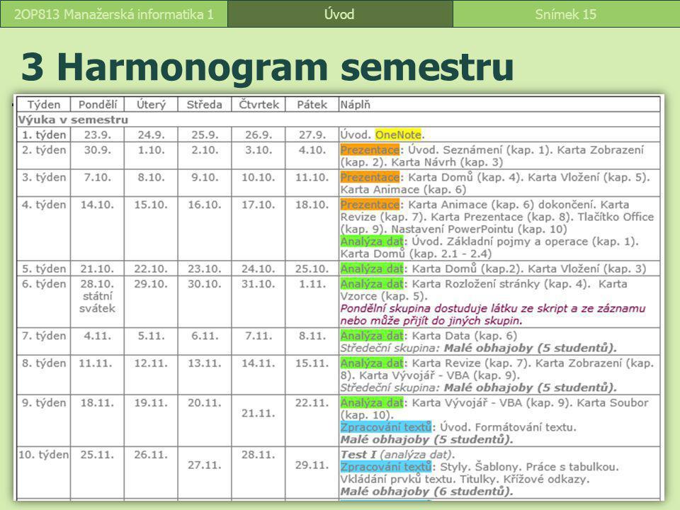 ÚvodSnímek 152OP813 Manažerská informatika 1 3 Harmonogram semestru