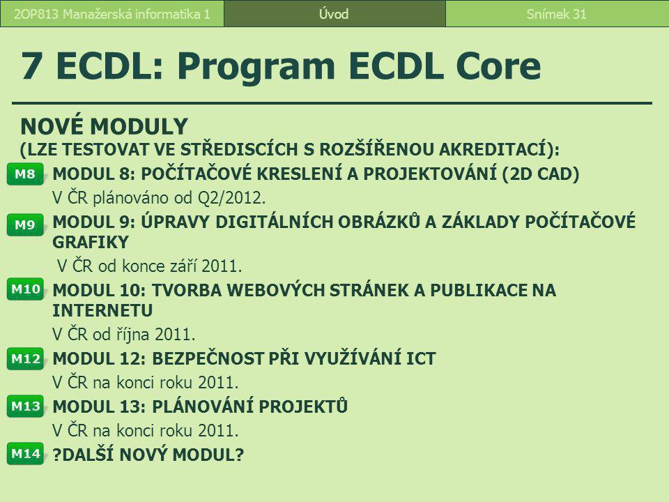 ÚvodSnímek 312OP813 Manažerská informatika 1 7 ECDL: Program ECDL Core NOVÉ MODULY (LZE TESTOVAT VE STŘEDISCÍCH S ROZŠÍŘENOU AKREDITACÍ): MODUL 8: POČ