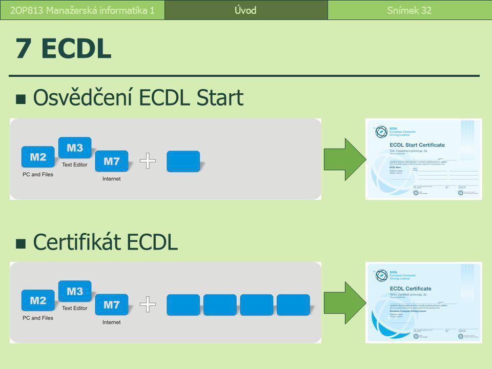 ÚvodSnímek 322OP813 Manažerská informatika 1 7 ECDL Osvědčení ECDL Start Certifikát ECDL