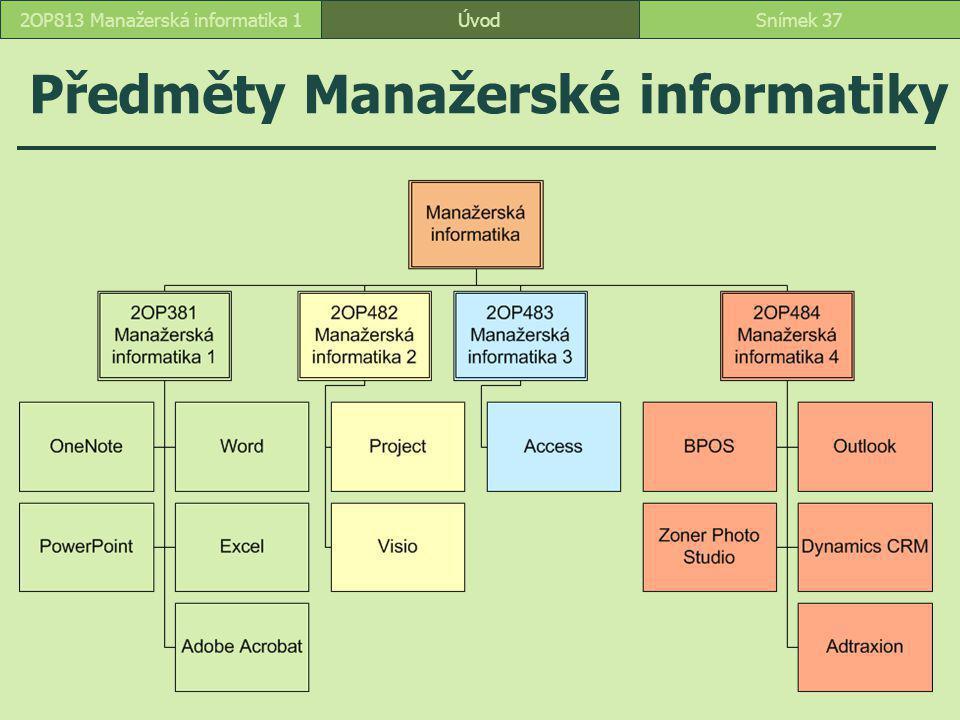 Předměty Manažerské informatiky ÚvodSnímek 372OP813 Manažerská informatika 1