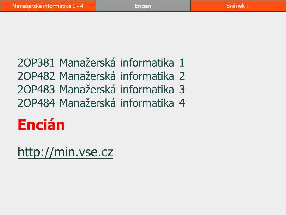 Manažerská informatika 1 - 4EnciánSnímek 1 2OP381 Manažerská informatika 1 2OP482 Manažerská informatika 2 2OP483 Manažerská informatika 3 2OP484 Mana