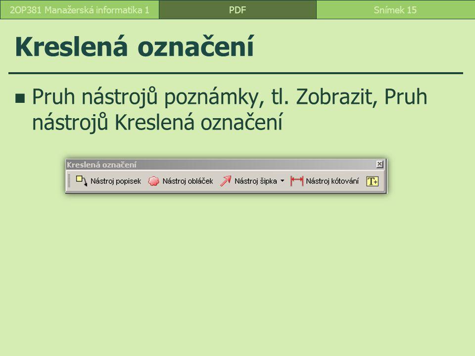 Kreslená označení Pruh nástrojů poznámky, tl.