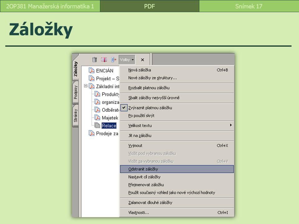 Záložky PDFSnímek 172OP381 Manažerská informatika 1