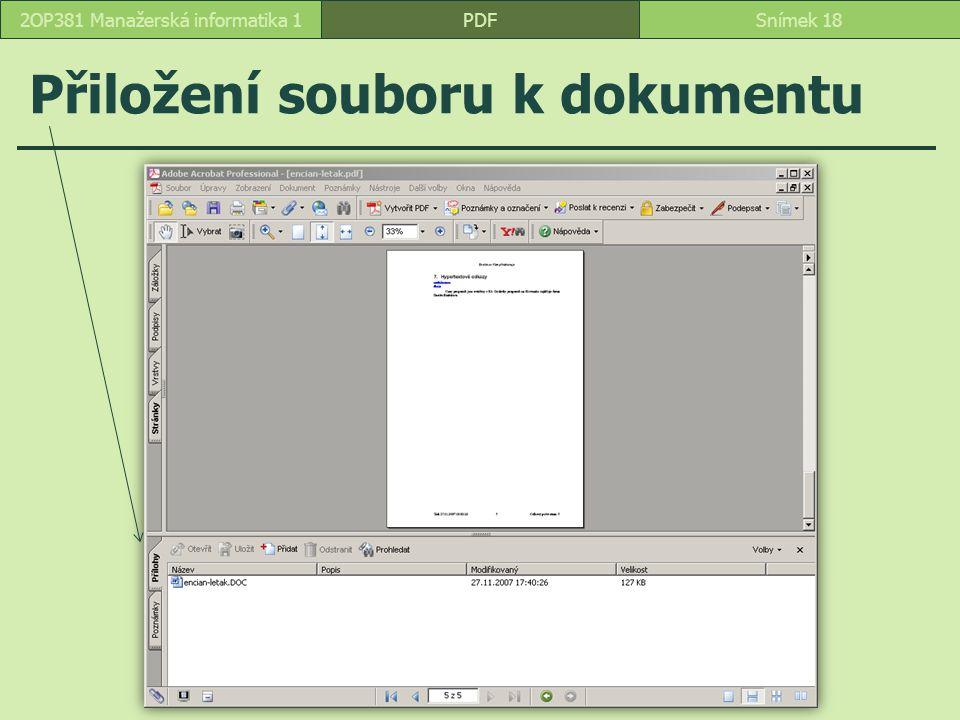 Přiložení souboru k dokumentu PDFSnímek 182OP381 Manažerská informatika 1