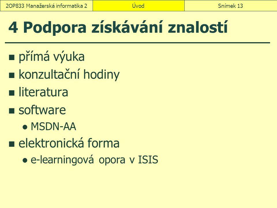 ÚvodSnímek 132OP833 Manažerská informatika 2 4 Podpora získávání znalostí přímá výuka konzultační hodiny literatura software MSDN-AA elektronická forma e-learningová opora v ISIS