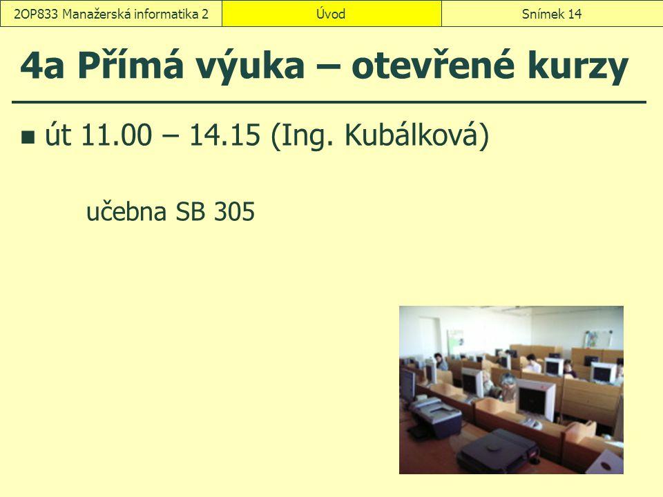 ÚvodSnímek 142OP833 Manažerská informatika 2 4a Přímá výuka – otevřené kurzy út 11.00 – 14.15 (Ing.