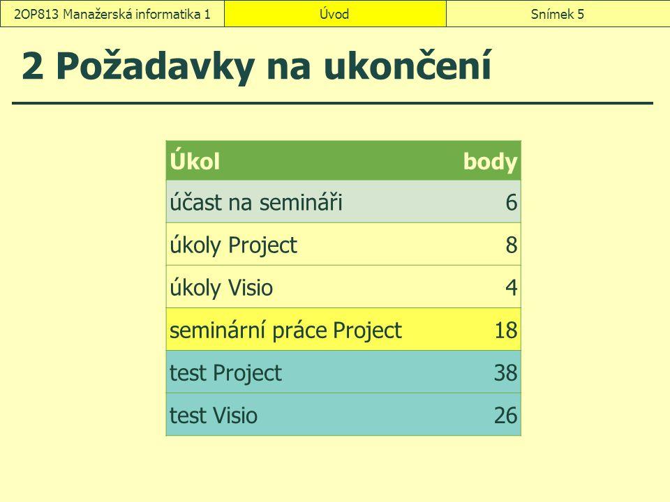 2 Požadavky na ukončení ÚvodSnímek 52OP813 Manažerská informatika 1 Úkolbody účast na semináři6 úkoly Project8 úkoly Visio4 seminární práce Project18 test Project38 test Visio26
