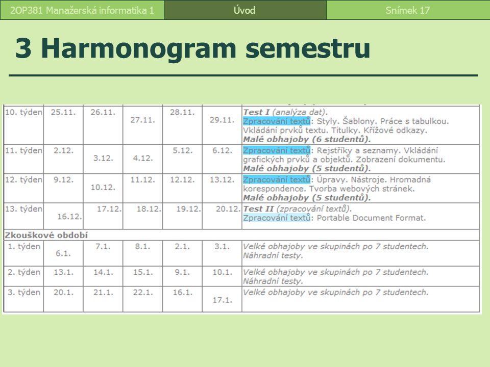 ÚvodSnímek 172OP381 Manažerská informatika 1 3 Harmonogram semestru