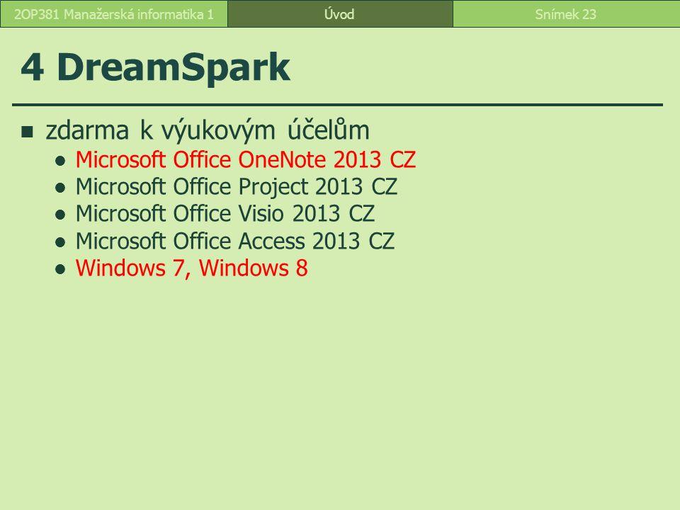 ÚvodSnímek 232OP381 Manažerská informatika 1 4 DreamSpark zdarma k výukovým účelům Microsoft Office OneNote 2013 CZ Microsoft Office Project 2013 CZ Microsoft Office Visio 2013 CZ Microsoft Office Access 2013 CZ Windows 7, Windows 8