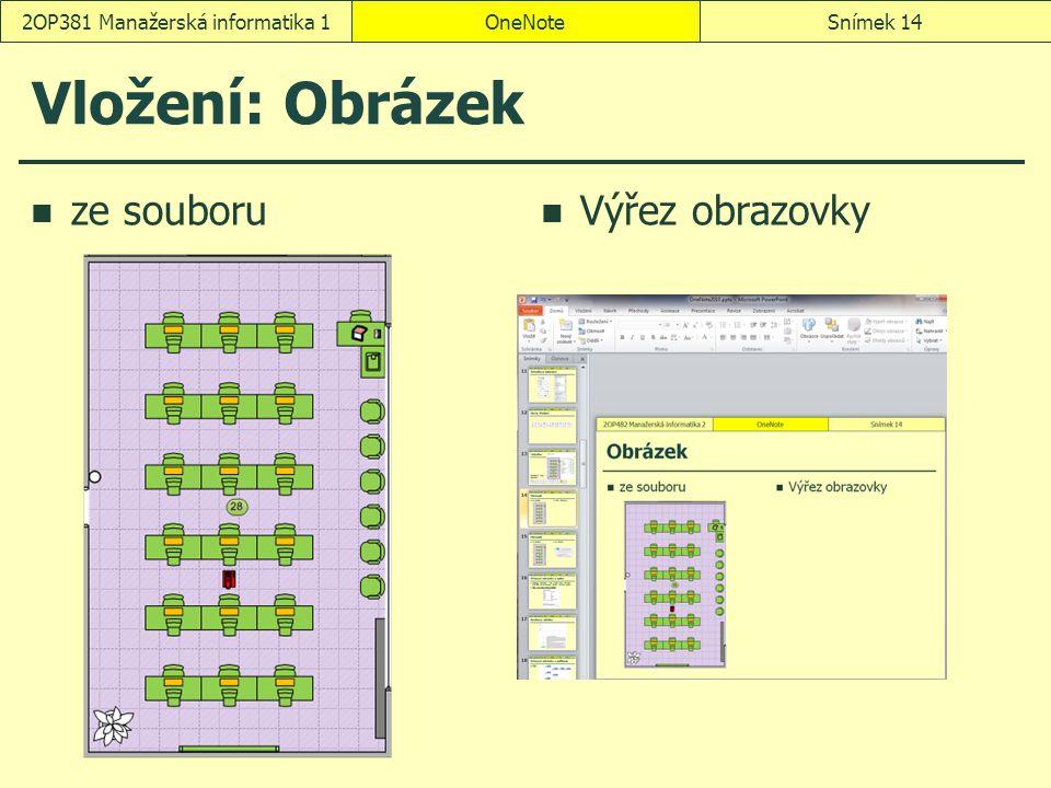 OneNoteSnímek 142OP381 Manažerská informatika 1 Vložení: Obrázek ze souboru Výřez obrazovky