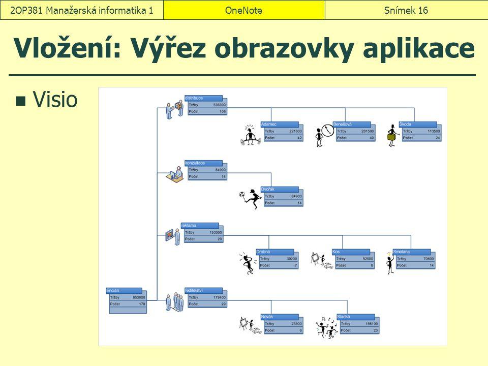 OneNoteSnímek 162OP381 Manažerská informatika 1 Vložení: Výřez obrazovky aplikace Visio