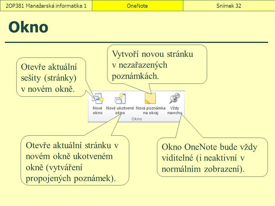 Okno OneNoteSnímek 322OP381 Manažerská informatika 1 Otevře aktuální sešity (stránky) v novém okně. Otevře aktuální stránku v novém okně ukotveném okn