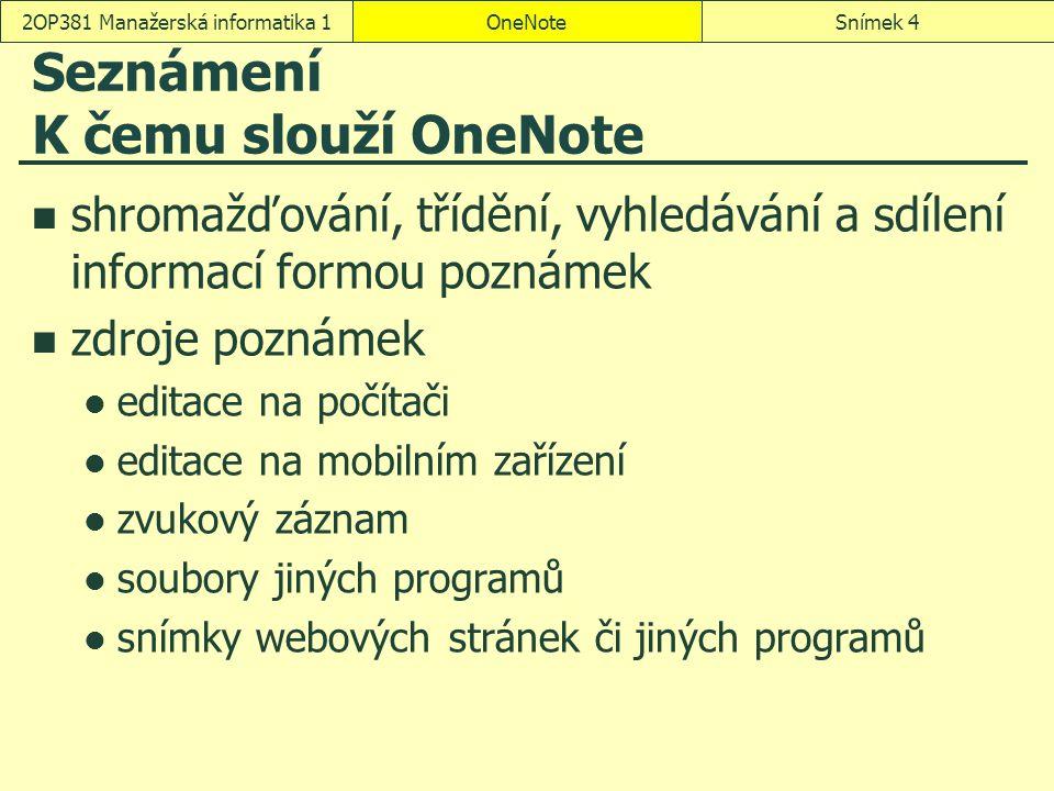 OneNoteSnímek 42OP381 Manažerská informatika 1 Seznámení K čemu slouží OneNote shromažďování, třídění, vyhledávání a sdílení informací formou poznámek