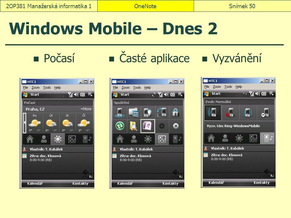 OneNoteSnímek 502OP381 Manažerská informatika 1 Windows Mobile – Dnes 2 Počasí Časté aplikace Vyzvánění
