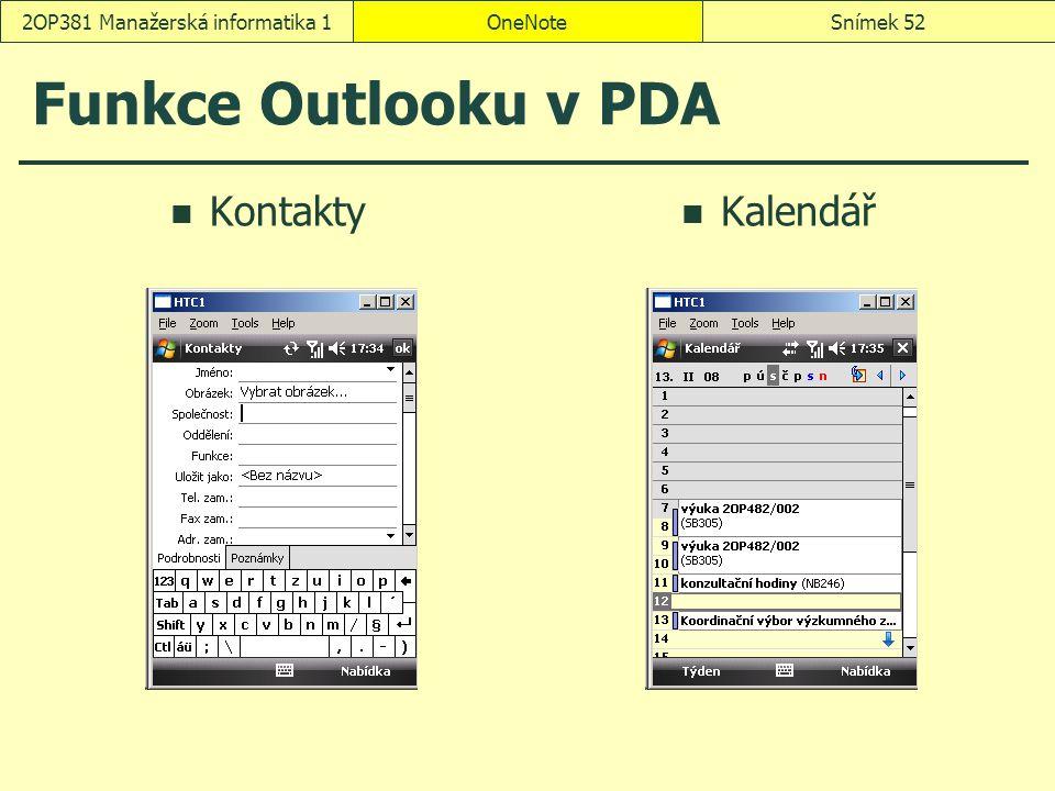 OneNoteSnímek 522OP381 Manažerská informatika 1 Funkce Outlooku v PDA Kontakty Kalendář