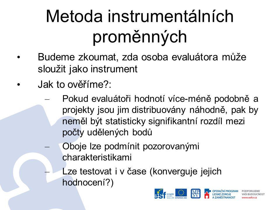 Metoda instrumentálních proměnných - 2 Statistický test bude založen na modelu diskrétní volby – Podmíněno charakteristikami – Potřebujeme vědět kdo a koho hodnotil.