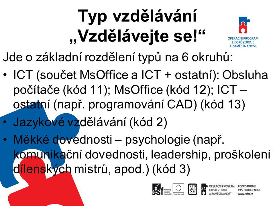 """Typ vzdělávání """"Vzdělávejte se!"""" Jde o základní rozdělení typů na 6 okruhů: ICT (součet MsOffice a ICT + ostatní): Obsluha počítače (kód 11); MsOffice"""