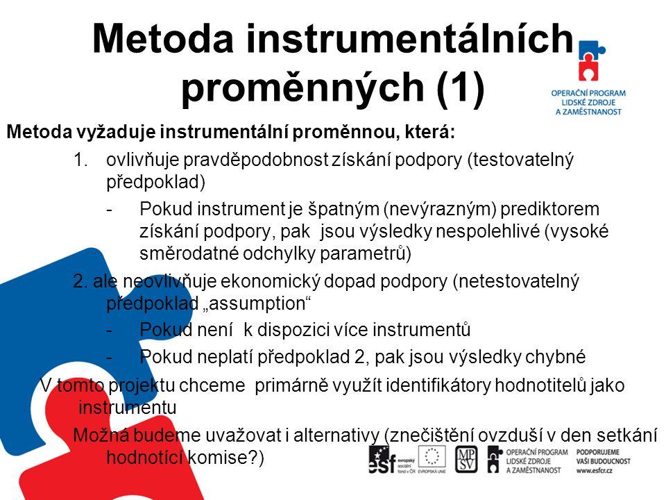 Metoda instrumentálních proměnných (1) Metoda vyžaduje instrumentální proměnnou, která: 1.ovlivňuje pravděpodobnost získání podpory (testovatelný před