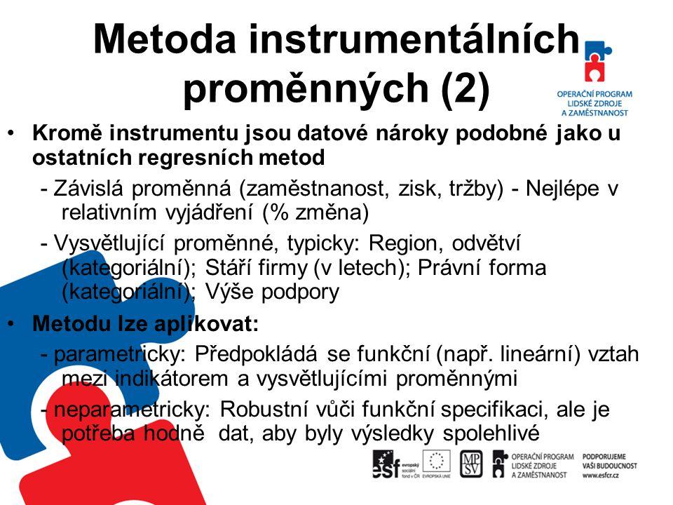 Metoda instrumentálních proměnných (2) Kromě instrumentu jsou datové nároky podobné jako u ostatních regresních metod - Závislá proměnná (zaměstnanost