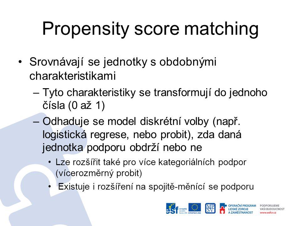 Propensity score matching Srovnávají se jednotky s obdobnými charakteristikami –Tyto charakteristiky se transformují do jednoho čísla (0 až 1) –Odhadu
