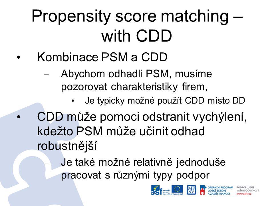Propensity score matching – with CDD Kombinace PSM a CDD – Abychom odhadli PSM, musíme pozorovat charakteristiky firem, Je typicky možné použít CDD mí