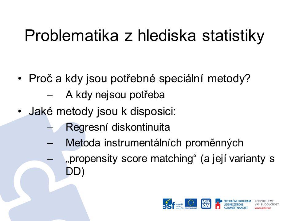 Problematika z hlediska statistiky Proč a kdy jsou potřebné speciální metody? – A kdy nejsou potřeba Jaké metody jsou k disposici: –Regresní diskontin