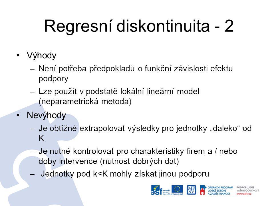 Regresní diskontinuita - 2 Výhody –Není potřeba předpokladů o funkční závislosti efektu podpory –Lze použít v podstatě lokální lineární model (neparam