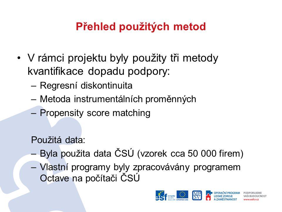 """Použití datových souborů Regresní diskontinuita – grantové projekty OP LZZ Instrumentální proměnné – grantové projekty OP LZZ Propensity score matching -grantové projekty OP LZZ -Systémový projekt """"Vzdělávejte se!"""