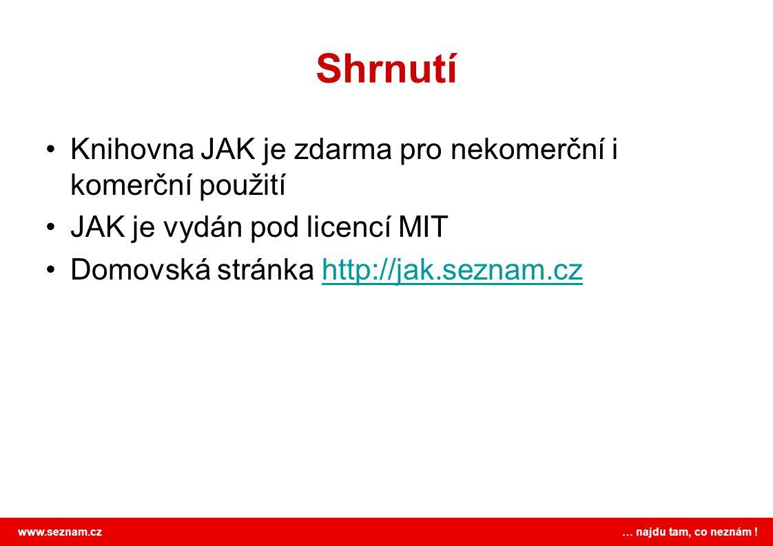 www.seznam.cz … najdu tam, co neznám ! Shrnutí Knihovna JAK je zdarma pro nekomerční i komerční použití JAK je vydán pod licencí MIT Domovská stránka