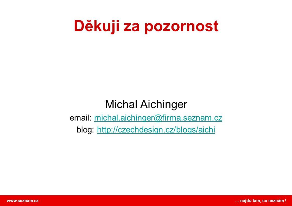 www.seznam.cz … najdu tam, co neznám ! Děkuji za pozornost Michal Aichinger email: michal.aichinger@firma.seznam.czmichal.aichinger@firma.seznam.cz bl