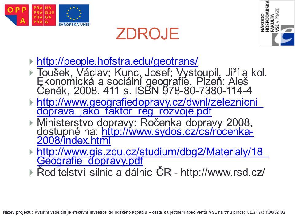 ZDROJE  http://people.hofstra.edu/geotrans/ http://people.hofstra.edu/geotrans/  Toušek, Václav; Kunc, Josef; Vystoupil, Jiří a kol. Ekonomická a so