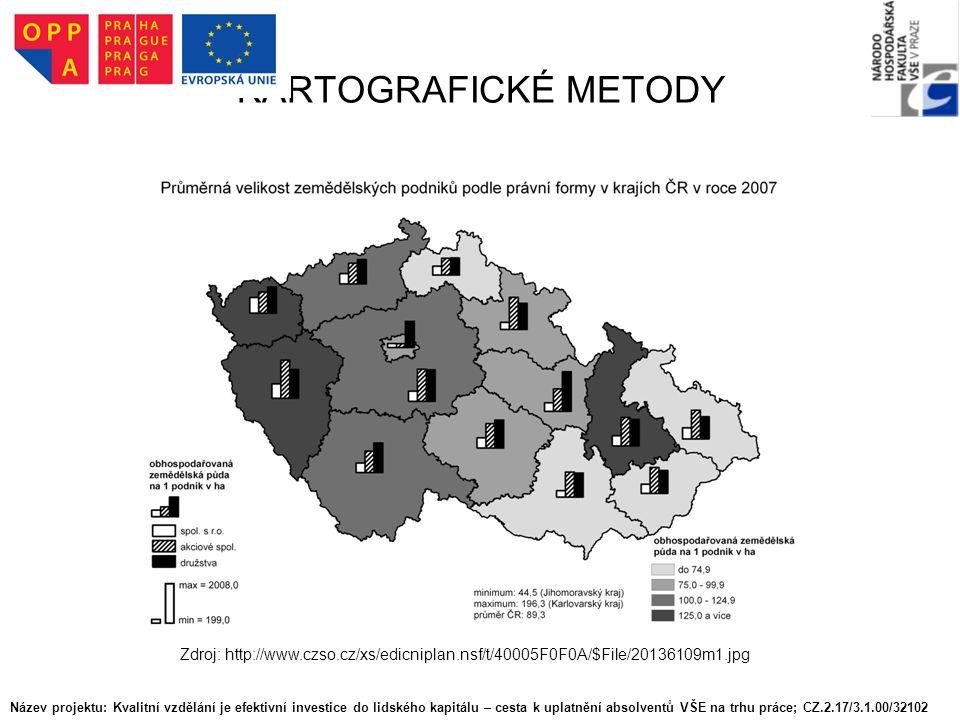 KARTOGRAFICKÉ METODY Zdroj: http://www.czso.cz/xs/edicniplan.nsf/t/40005F0F0A/$File/20136109m1.jpg Název projektu: Kvalitní vzdělání je efektivní inve