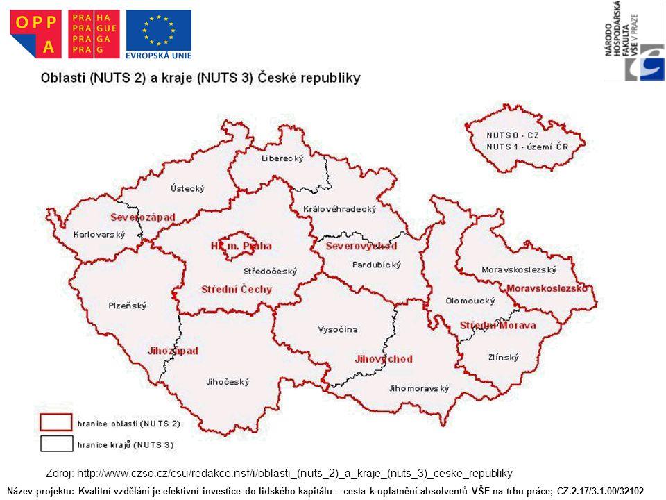Zdroj: http://www.czso.cz/csu/redakce.nsf/i/oblasti_(nuts_2)_a_kraje_(nuts_3)_ceske_republiky Název projektu: Kvalitní vzdělání je efektivní investice do lidského kapitálu – cesta k uplatnění absolventů VŠE na trhu práce; CZ.2.17/3.1.00/32102