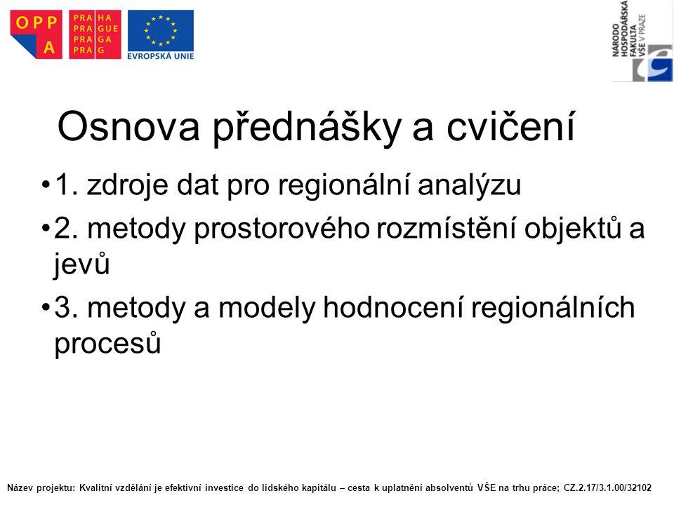 Osnova přednášky a cvičení 1. zdroje dat pro regionální analýzu 2. metody prostorového rozmístění objektů a jevů 3. metody a modely hodnocení regionál
