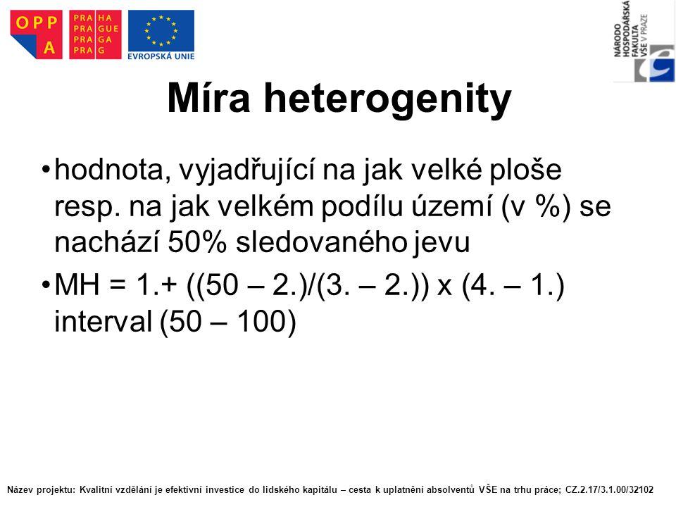 Míra heterogenity hodnota, vyjadřující na jak velké ploše resp. na jak velkém podílu území (v %) se nachází 50% sledovaného jevu MH = 1.+ ((50 – 2.)/(