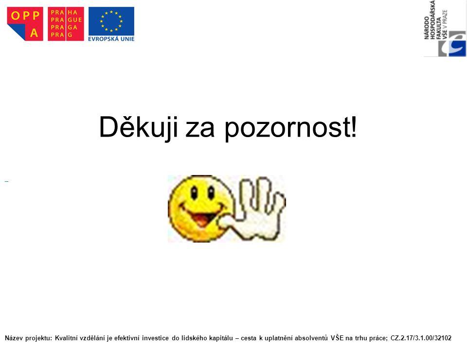 Děkuji za pozornost! Název projektu: Kvalitní vzdělání je efektivní investice do lidského kapitálu – cesta k uplatnění absolventů VŠE na trhu práce; C