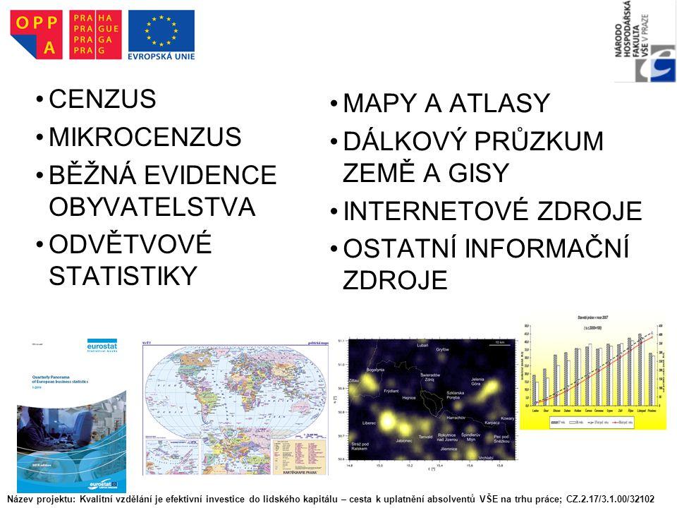 CENZUS MIKROCENZUS BĚŽNÁ EVIDENCE OBYVATELSTVA ODVĚTVOVÉ STATISTIKY MAPY A ATLASY DÁLKOVÝ PRŮZKUM ZEMĚ A GISY INTERNETOVÉ ZDROJE OSTATNÍ INFORMAČNÍ ZD