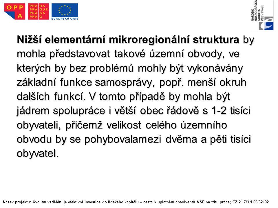 Nižší elementární mikroregionální struktura by mohla představovat takové územní obvody, ve kterých by bez problémů mohly být vykonávány základní funkce samosprávy, popř.