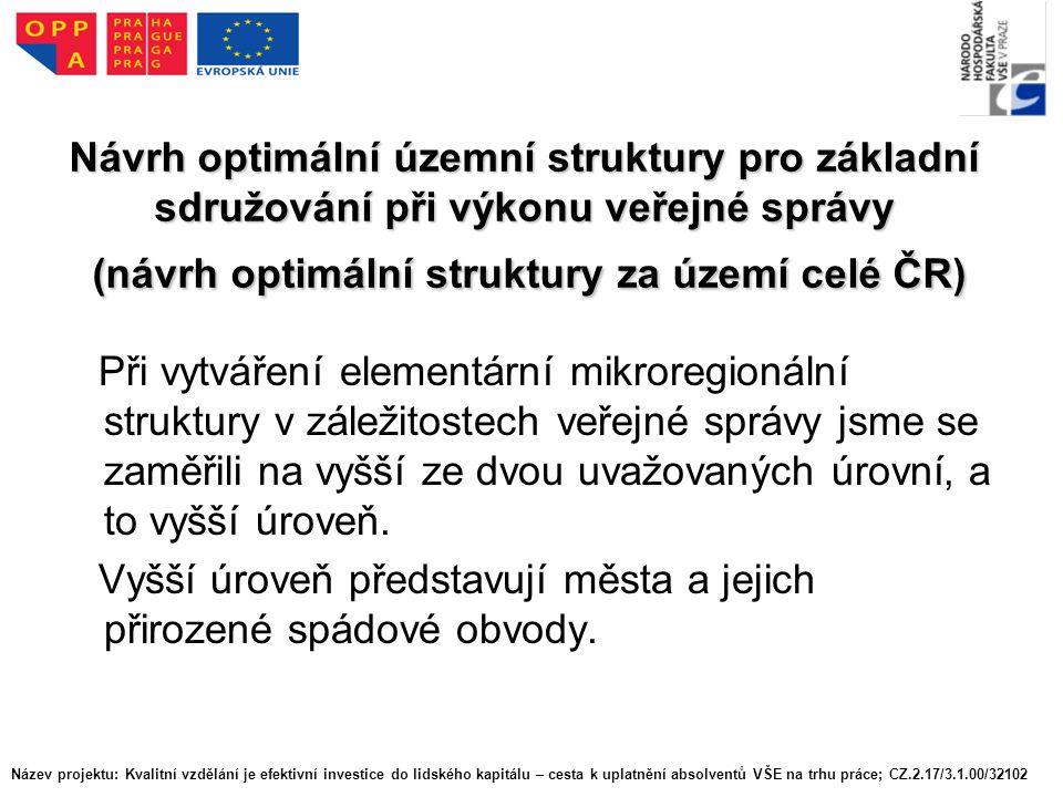 Návrh optimální územní struktury pro základní sdružování při výkonu veřejné správy (návrh optimální struktury za území celé ČR) Při vytváření elementární mikroregionální struktury v záležitostech veřejné správy jsme se zaměřili na vyšší ze dvou uvažovaných úrovní, a to vyšší úroveň.