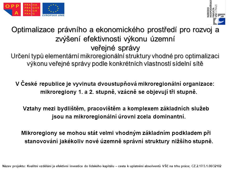 Optimalizace právního a ekonomického prostředí pro rozvoj a zvýšení efektivnosti výkonu územní veřejné správy Určení typů elementární mikroregionální struktury vhodné pro optimalizaci výkonu veřejné správy podle konkrétních vlastností sídelní sítě V České republice je vyvinuta dvoustupňová mikroregionální organizace: mikroregiony 1.