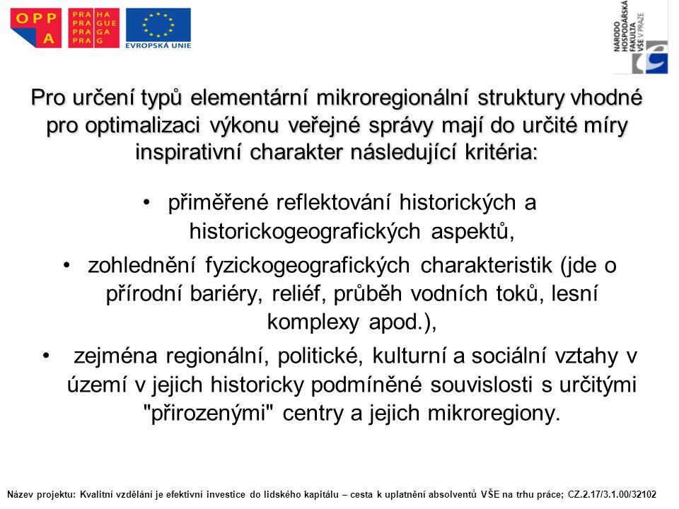 Při určení typů elementární mikroregionální struktury vhodné pro optimalizaci výkonu veřejné správy jsme se snažili o přiměřené respektování fyzickogeografických charakteristik (jako přírodních bariér, reliéfu, průběhu vodních toků, lesních komplexů apod.), historických a historickogeografických aspektů a dále mikroregionálních, kulturních a sociálních vztahů v území.