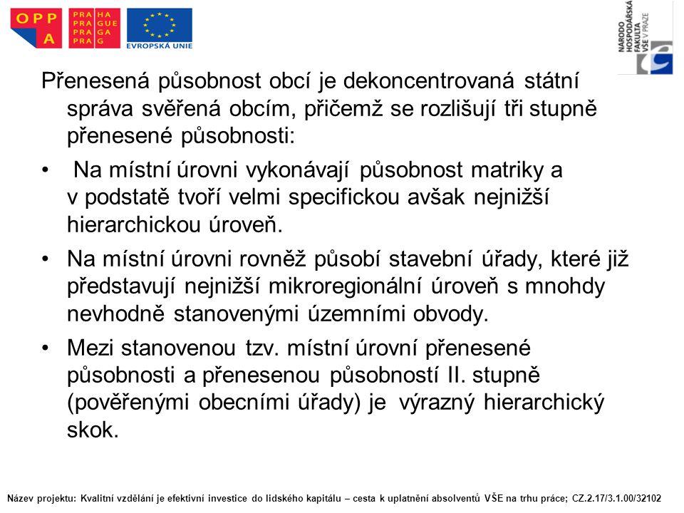 Na základě stanovených kritérií bylo do vyššího stupně elementární mikroregionální struktury zařazeno 603 obcí (bez Prahy), přičemž z tohoto počtu 67 obcí nemá stavební úřad.